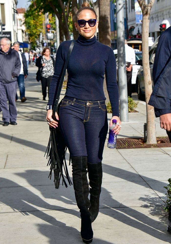 7 Ways Jennifer Lopez Wears The Over The Knee Boot Trend Who What Wear