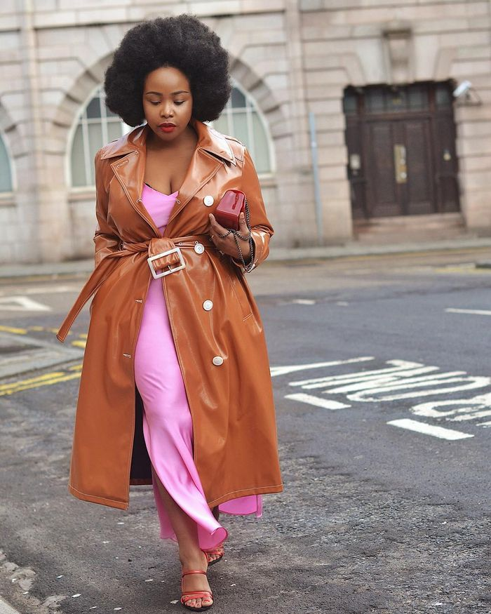 How to Repeat Outfits: Ada wears her River Island vinyl trench coat with pink pieces