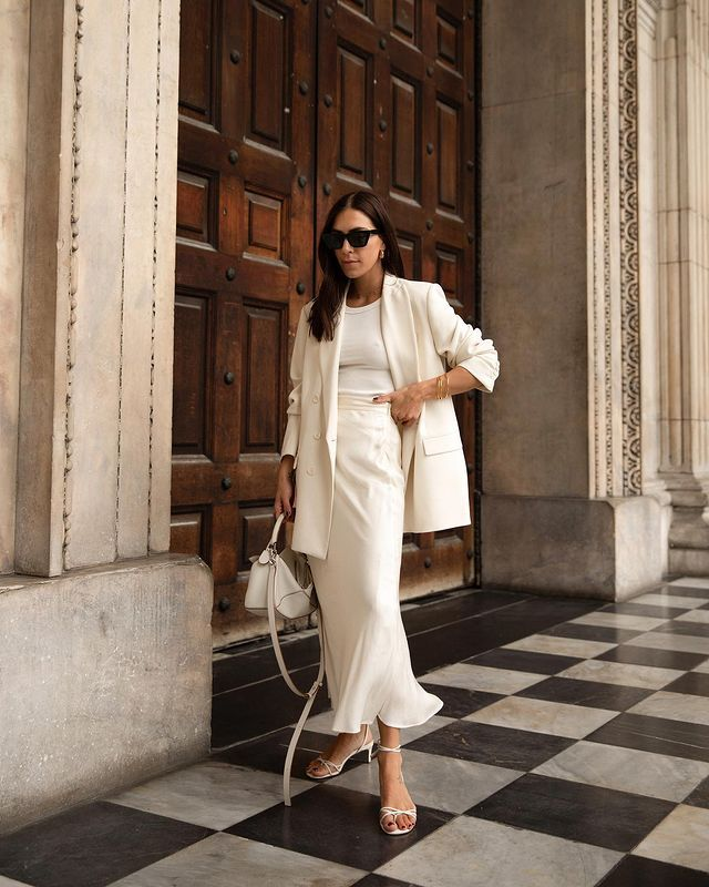 How to Repeat Outfits: Jessica Skye reworks her slip skirt and white top combination for different seasons