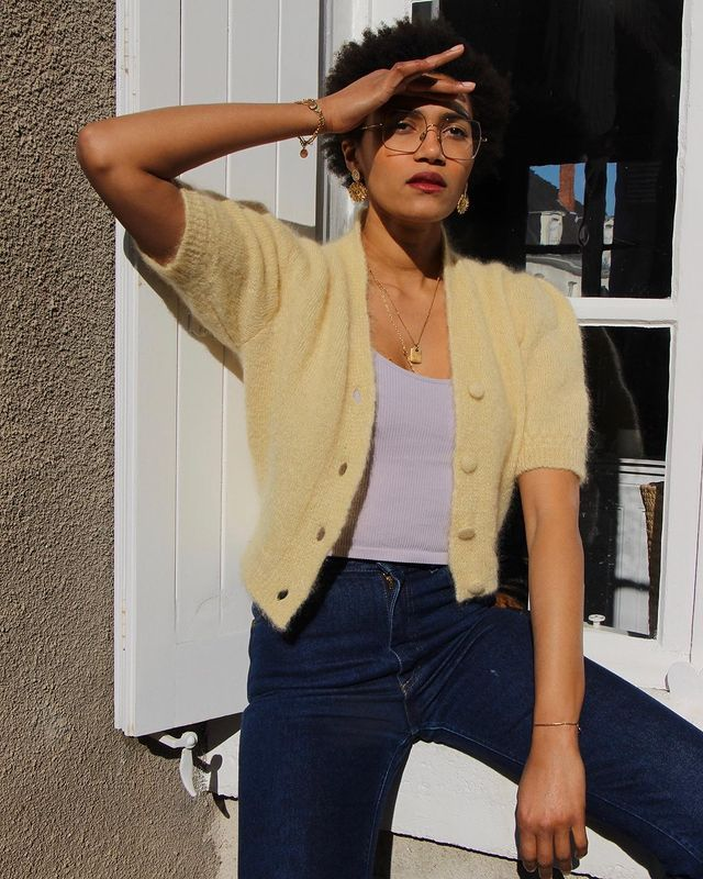 How to Repeat Outfits: Léna Farl can't get enough of her yellow cardigan