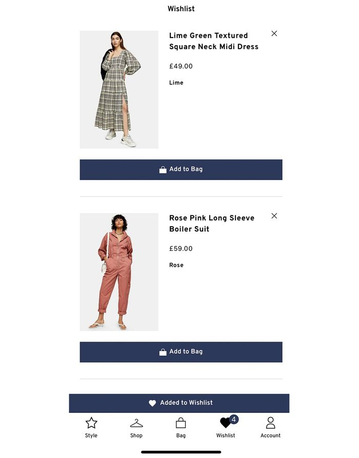 Topshop saved items