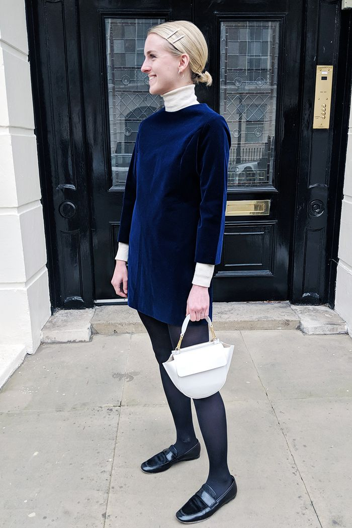 How to wear velvet in daytime: Joy Montgomery in blue dress