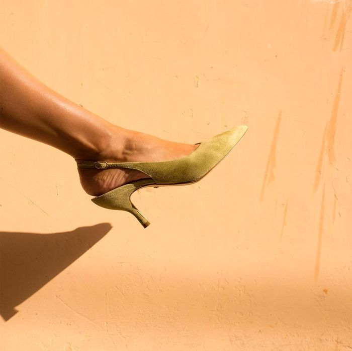 New shoe brands 2019: Sania D'Mina green suede slingbacks