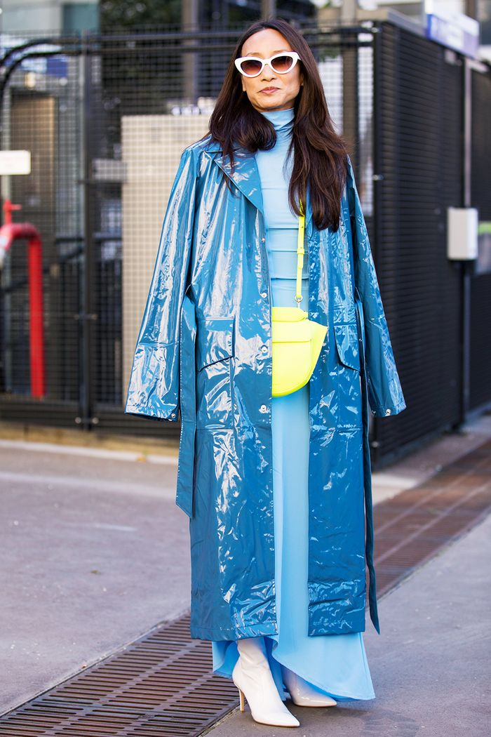 Vinyl outfits: blue coat and dress
