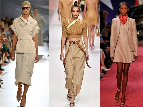 Beige outfits: catwalk images