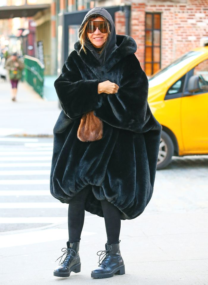 Carine Roitfeld Wearing the Oversized Coat Trend