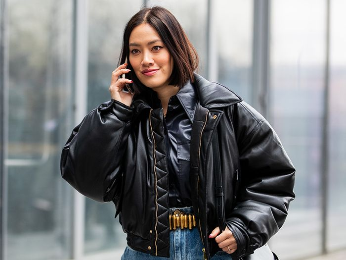Leather puffer jackets