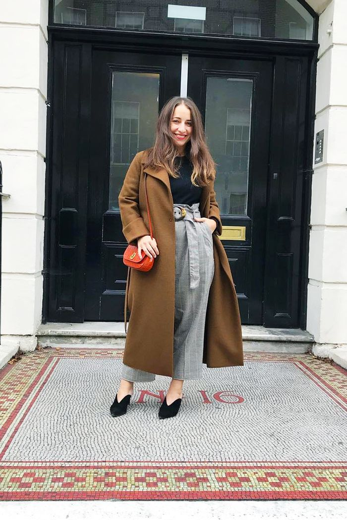 Fashion staples: Hannah Almassi in Harris Whard coat