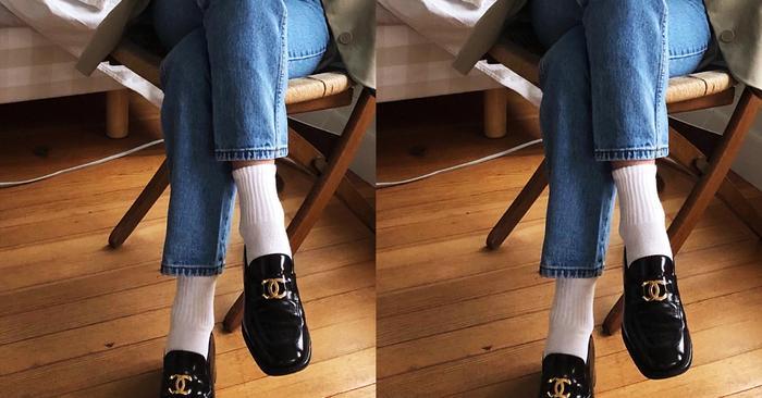 white socks black shoes trend