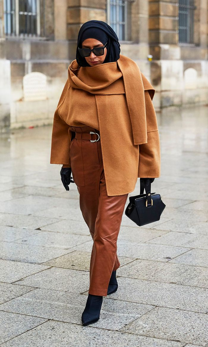 Haute Couture Fashion Week street style January 2019:  tan and camel outfit