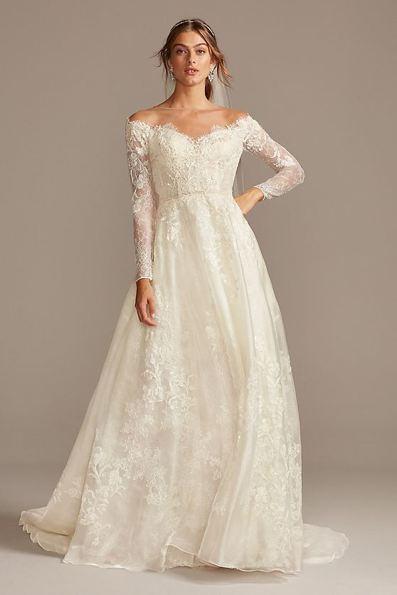 Oleg Cassini Shimmer Lace Long Sleeve Applique Wedding Dress
