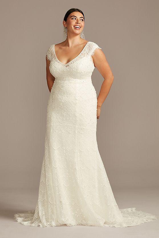 ASOS Hand Beaded Cap Sleeve Plus Size Wedding Dress