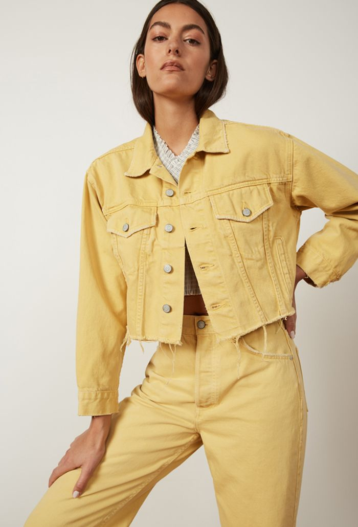 Sustainable denim brands: Boyish yellow denim jacket and jeans