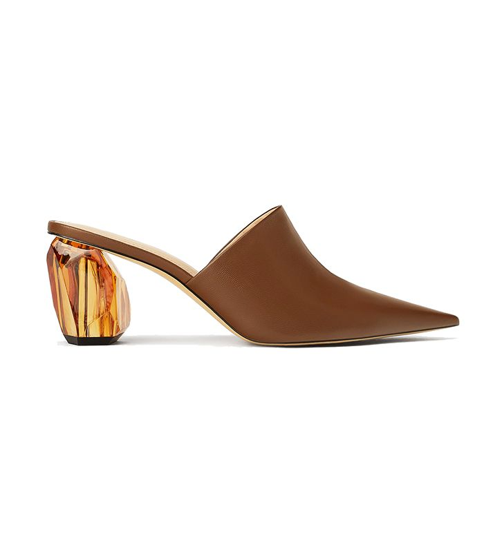 Zara Geometric Heel Leather Mueles