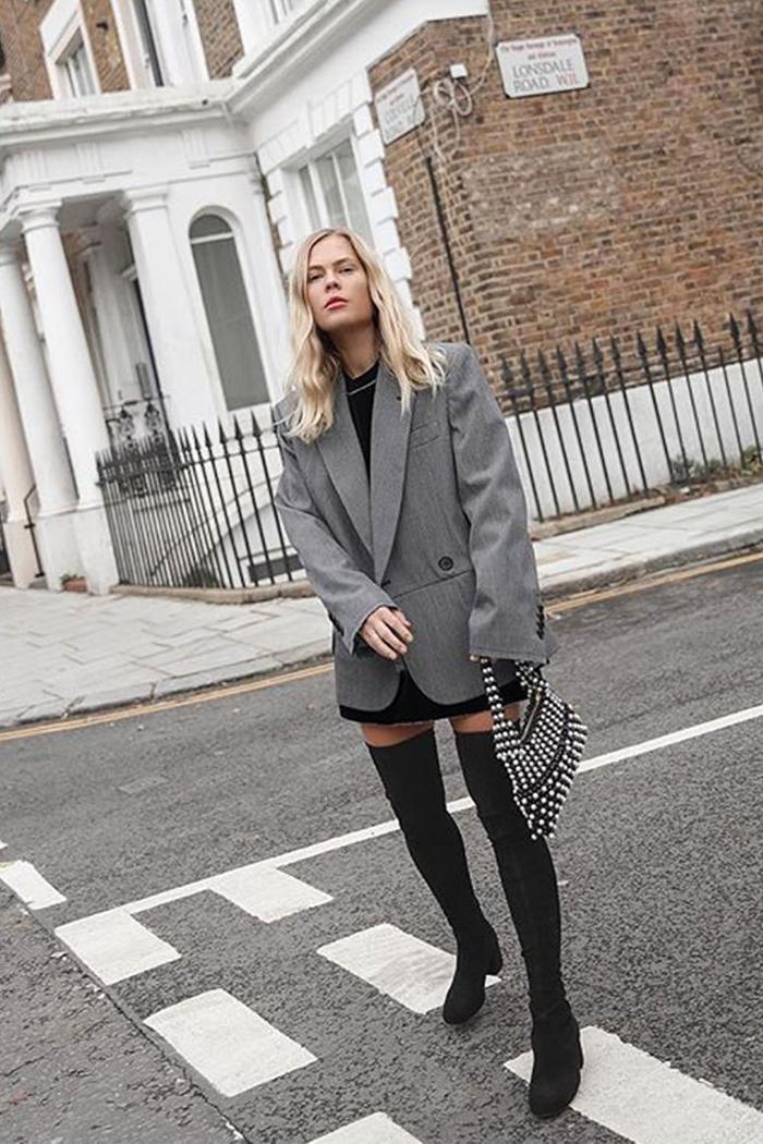 Best Neutrals: Jessie Bush wearing grey outfit
