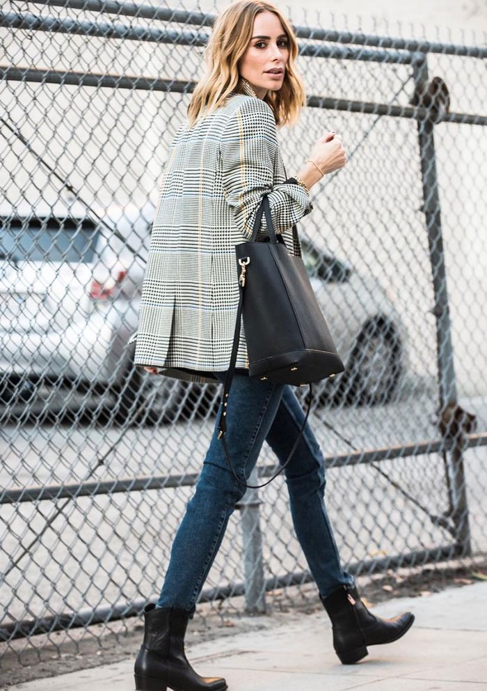 What to Wear With Skinny Jeans: Plaid Blazer