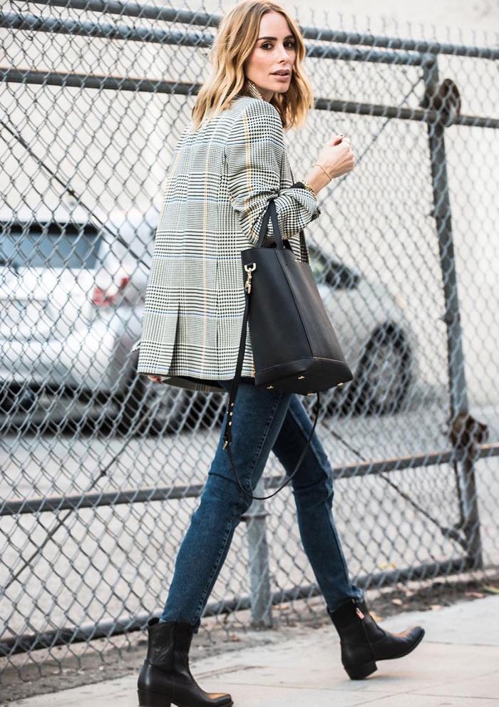 What to Wear With Skinny Jeans: Plaid Blazer