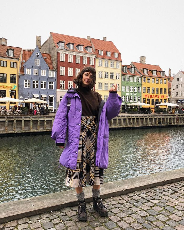 Outfits With Hiking Boots: Purple Coat
