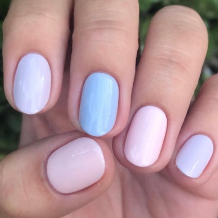 Pastel ombre manicures