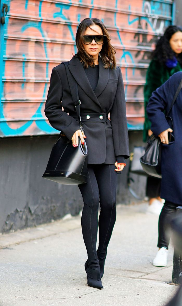 Celebrity Leggings and Blazer Outfit: Victoria Beckham