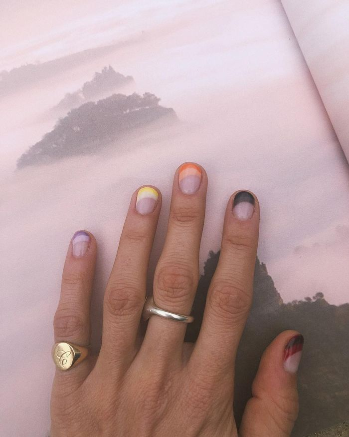 Negative space nails: Always judging with coloured tips and bare nails