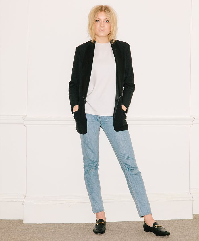London stylist Holly White in jeans and a blazer