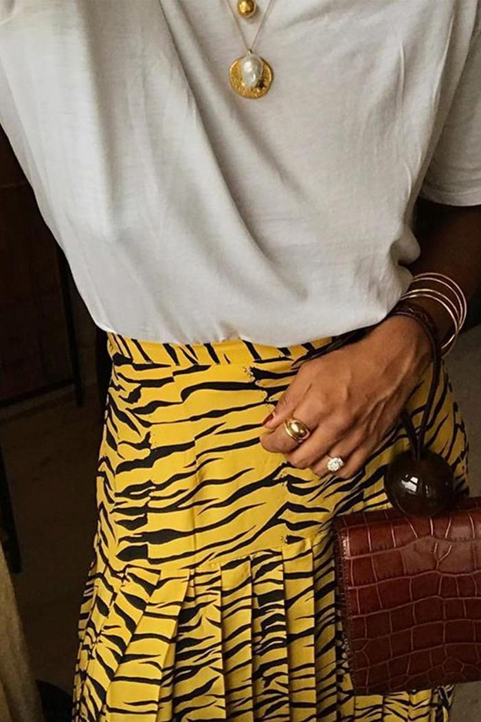 Best Spring Skirts: Monikh wearing Rixo Skirt