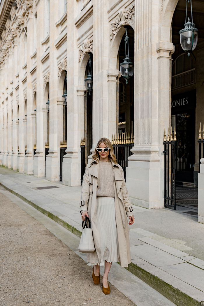 French spring trends: Marissa Cox wearing a beige trench coat, jumper, skirt and tan mules