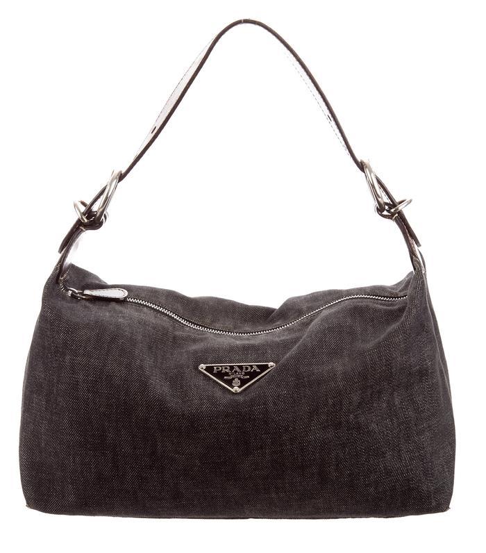 Prada Leather-Trimmed Denim Hobo