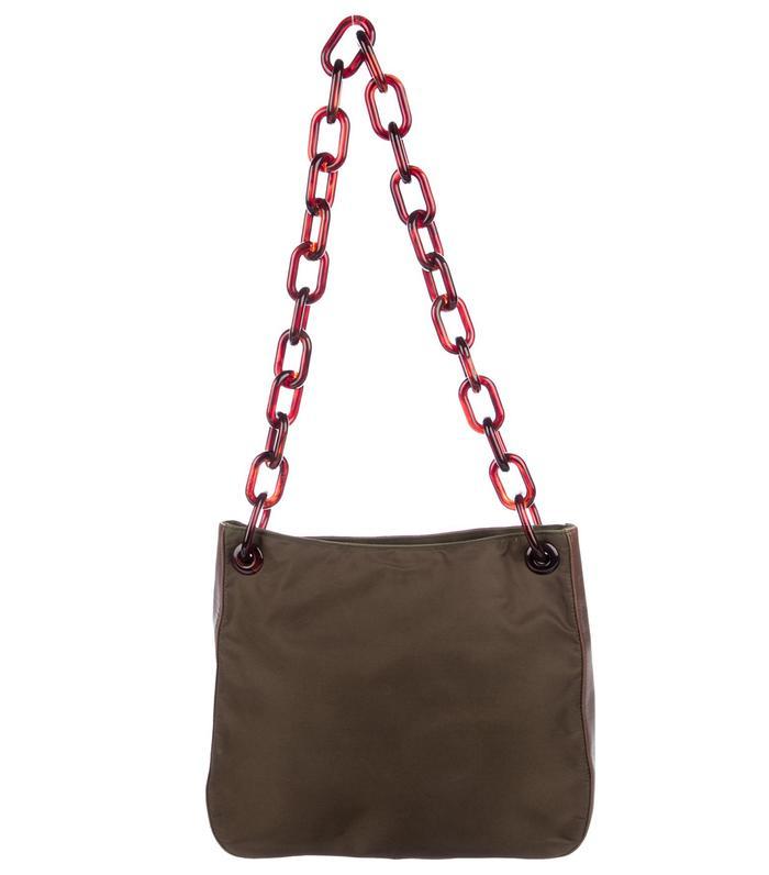 Prada Leather-Trim Shoulder Bag