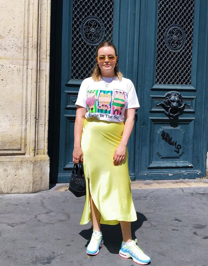 How to wear neon: slip skirt and colourful trainers