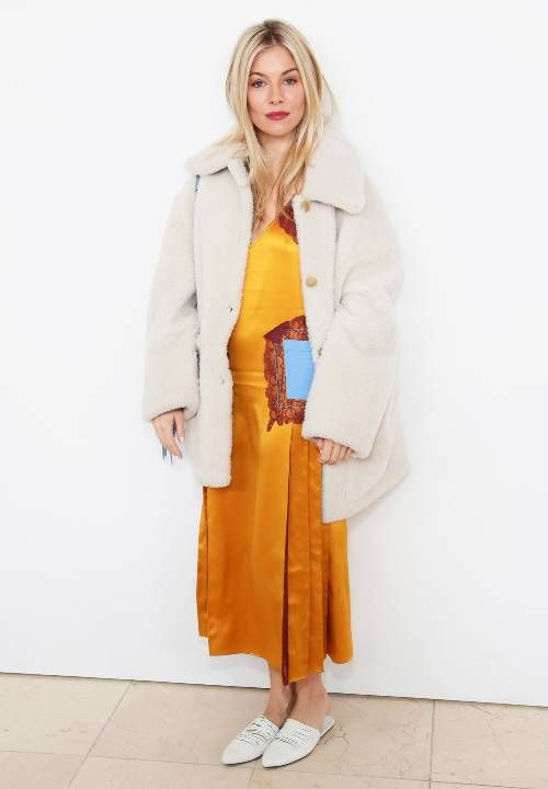 Sienna Miller Capsule Wardrobe: Sienna Miller frequently opts for yellow dresses