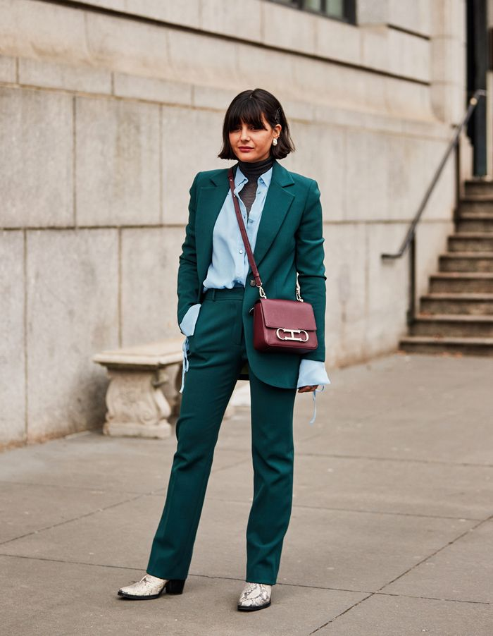 New York Fashion Week street style February 2019:  green trouser suit