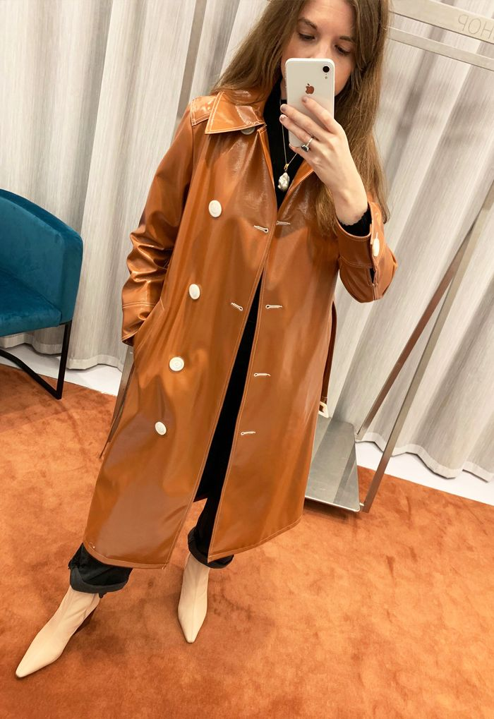 Topshop editors picks: patent coat and beige boots