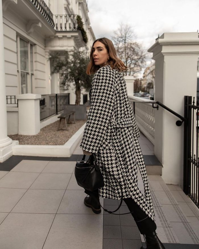 Best Spring Coats: Jessica wears a coat with a large houndstooth check