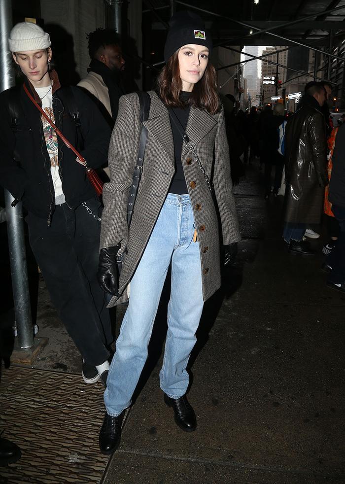 Kaia Gerber wearing baggy jeans