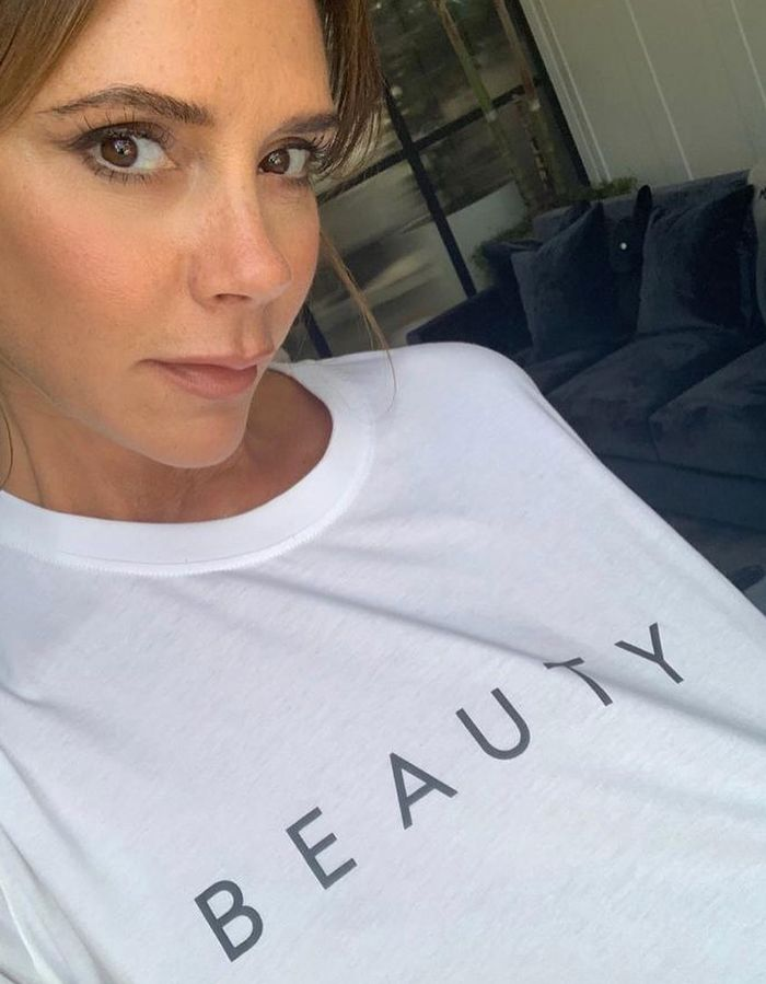 Victoria Beckham beauty: VB wearing a white T-shirt for her beauty brand launch
