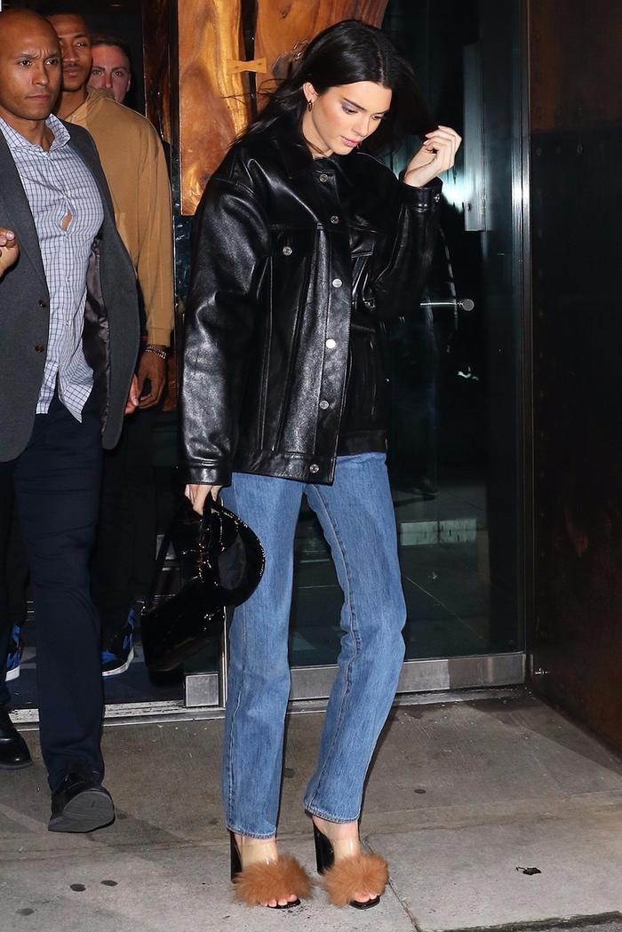Kendall Jenner leather shacket