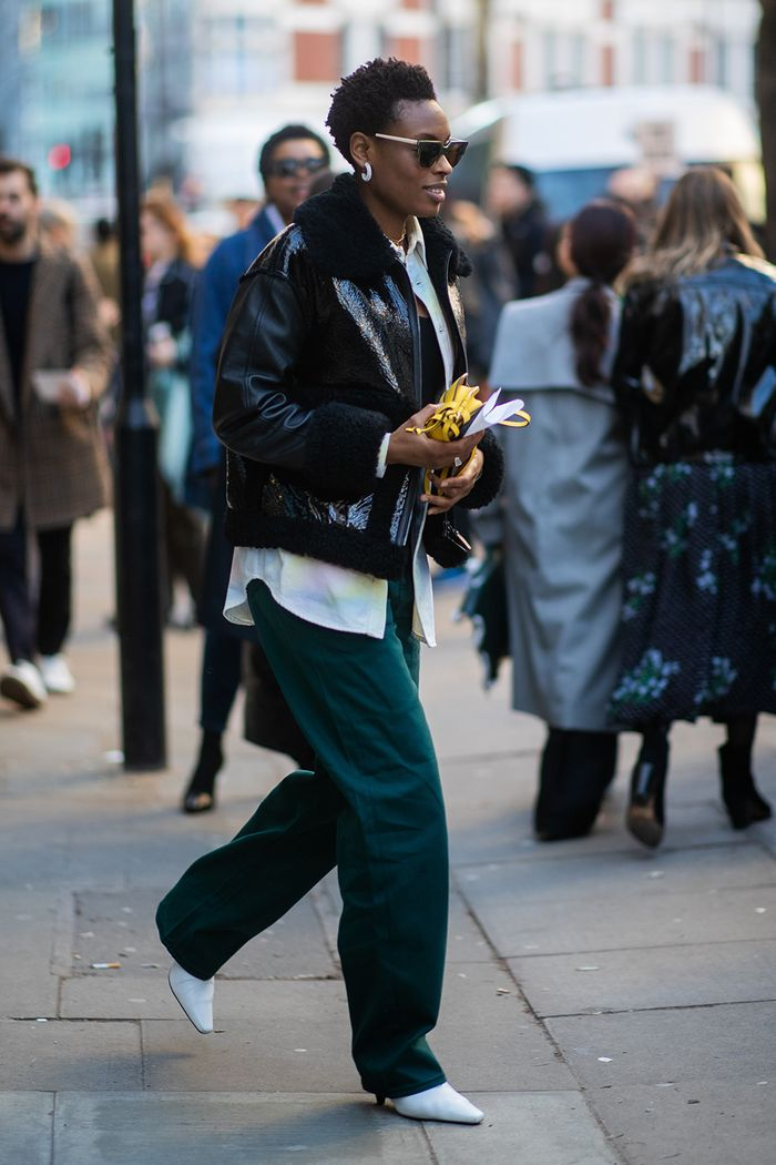 London Fashion Week street style February 2019: editor in bomber jacket