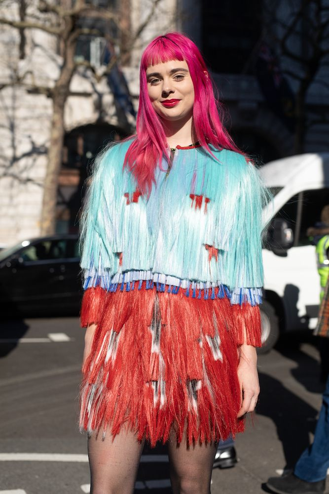 Hair Colour Trends 2019: London Fashion Week street style bright pink hair