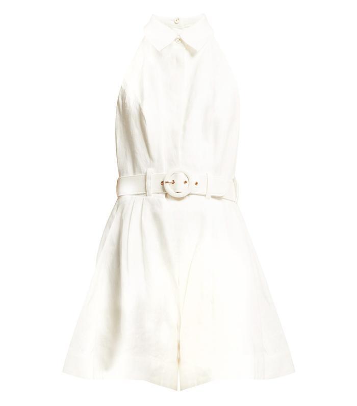 Zimmerman Primrose Belted Linen Jumpsuit