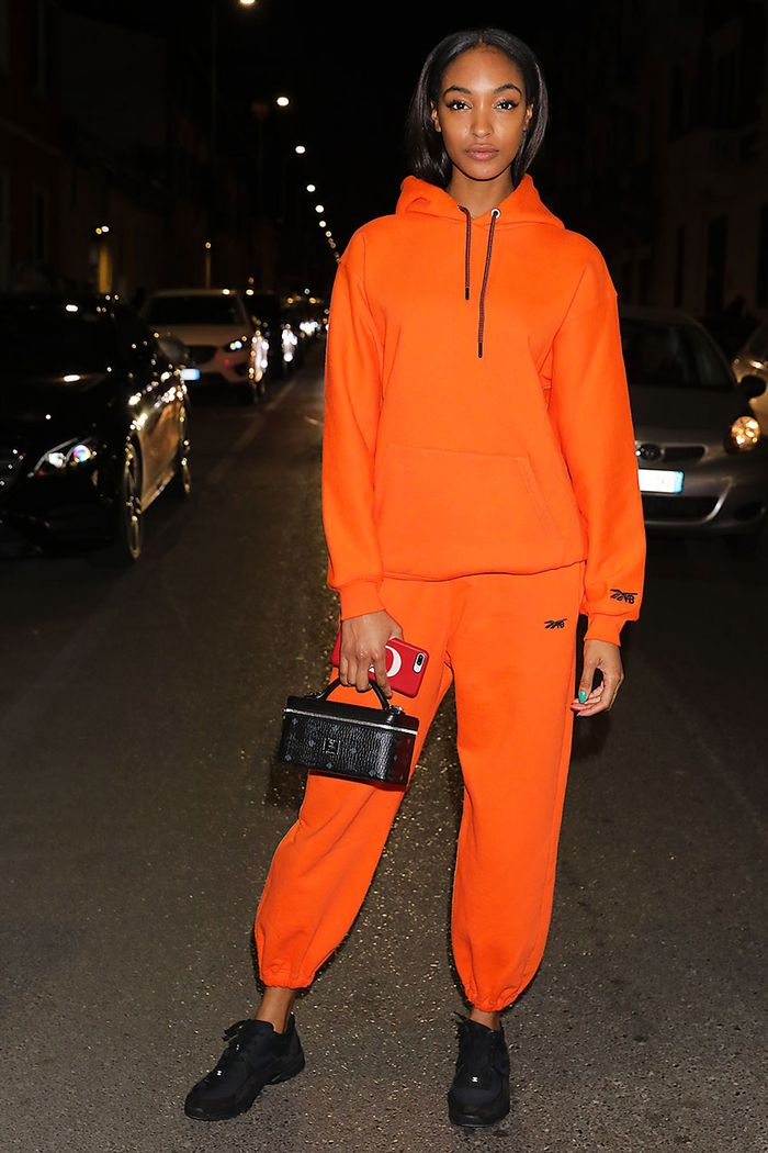 Jourdan Dunn sneakers and sweatsuit