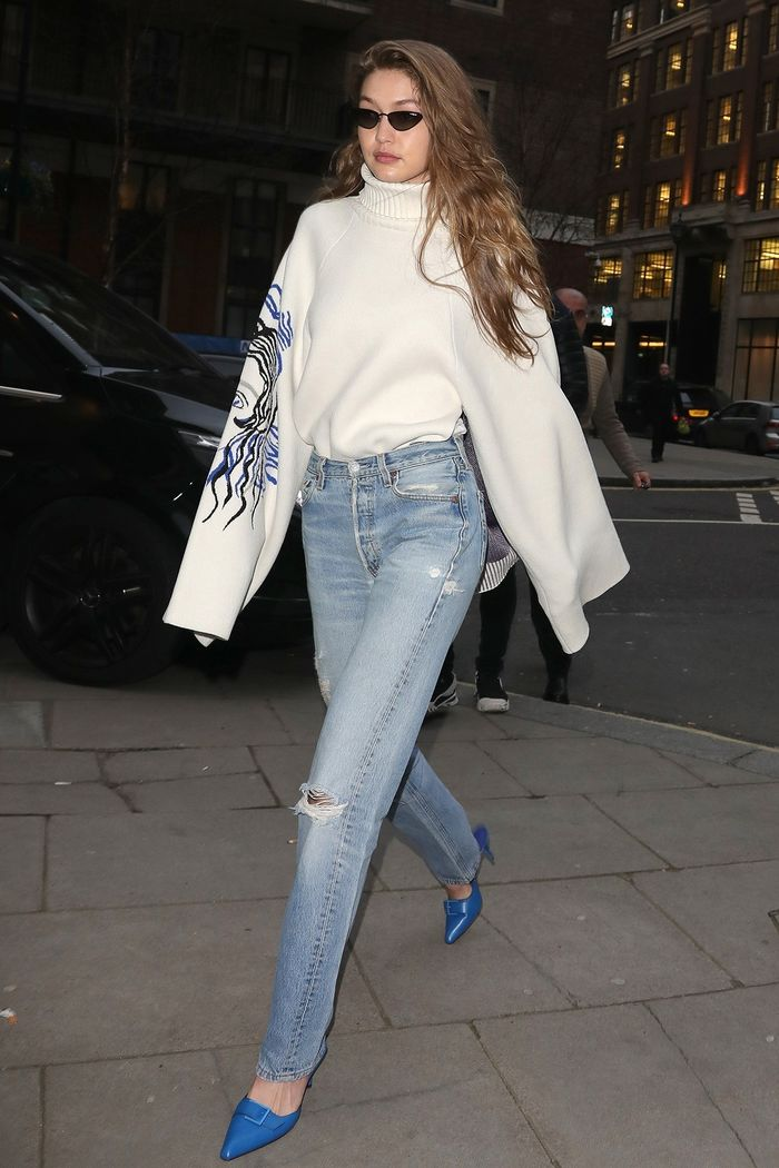 Gigi Hadid wearing Charles and Keith mules in London