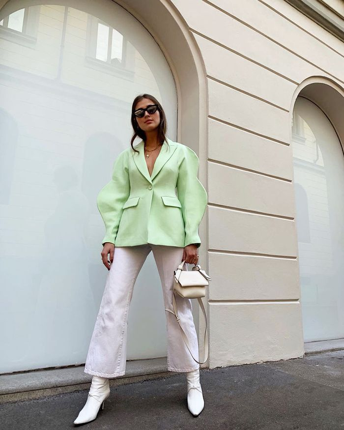 Spring Outfit Idea With Green Blazer