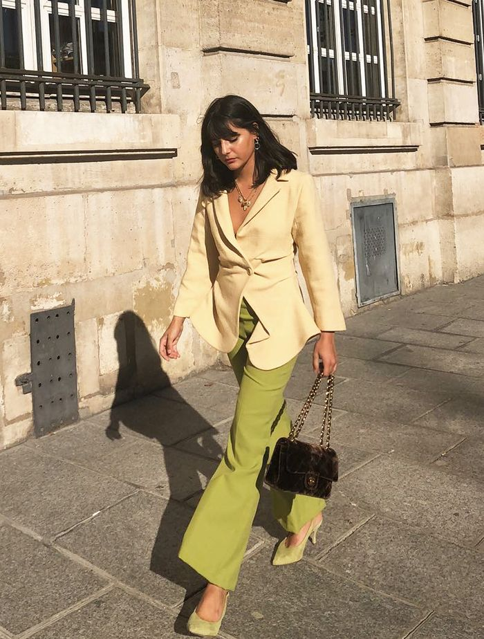 Complementary Colours Outfits: Maria Bernad in yellow and green