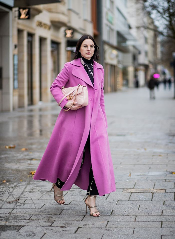 Fashionable Outfit With Gucci Bag and pink coat