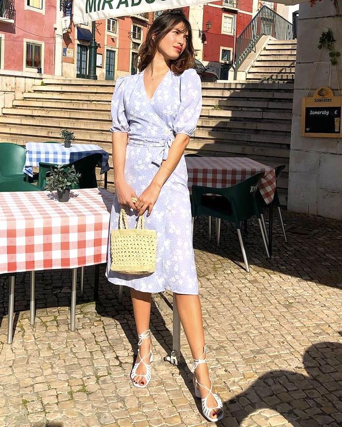 French Spring Capsule Wardrobe: Jeanne Damas in Rouje Wrap Dress