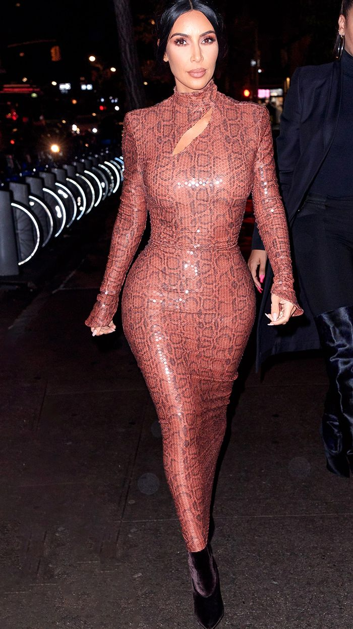Most flattering dress style: Kim Kardashian in a form-fitting snake print dress