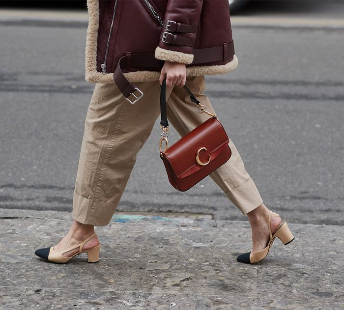 Classic handbag styles: Chloe's cross-body C bag pictured on the streets
