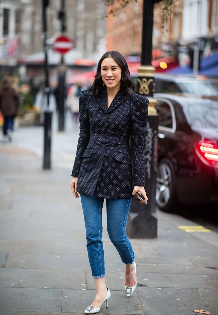 Skinny jeans outfit with a blazer